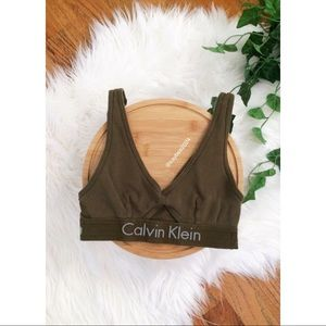 🌿 Olive Calvin Klein Logo Bralette 🌿